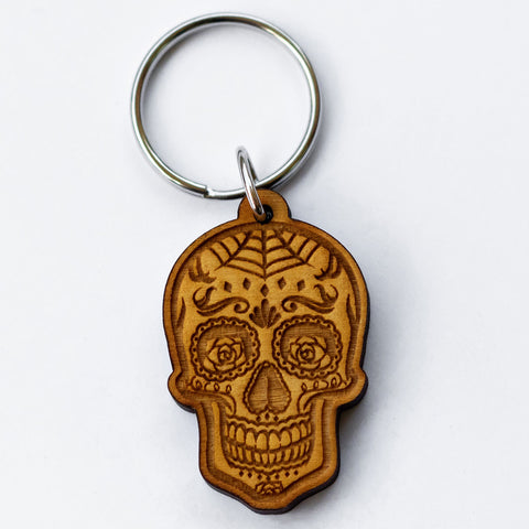 Rose Eyes Sugar Skull Wooden Keychain