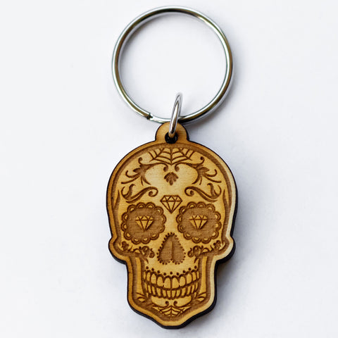 Diamond Eyes Sugar Skull Wooden Keychain