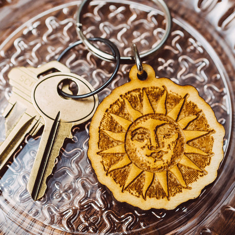 Wood Cut Sun Wooden Keychain