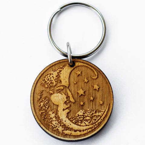 Wood Cut Moon Wooden Keychain