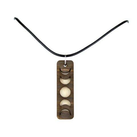 Moon Phases Wooden LaserCut Necklace