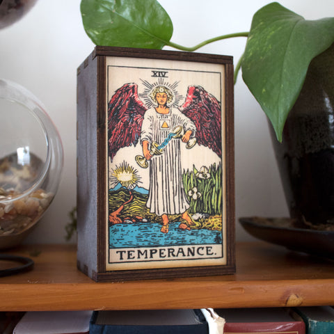Temperance Tarot Card Card Wooden Stash Box Tarot Card Box