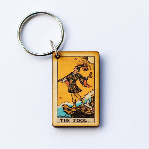 The Fool Card Keychain, A wooden laser cut Tarot Deck Keyring with Free Shipping