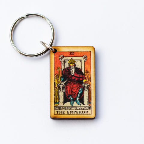 The Emperor Card Keychain, A wooden laser cut Tarot Deck Keyring with Free Shipping
