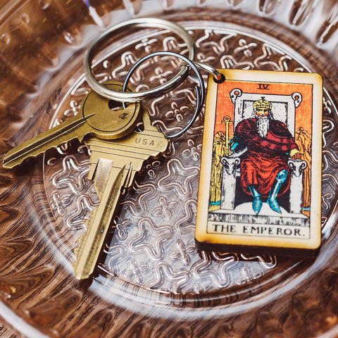 The Emperor Tarot Card Keychain