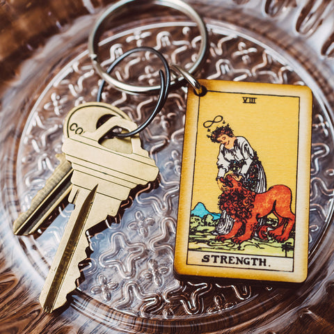 Strength Tarot Card Keychain