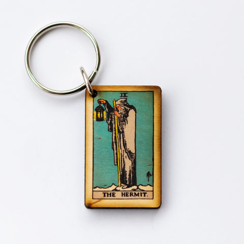 The Hermit Card Keychain, A wooden laser cut Tarot Deck Keyring with Free Shipping