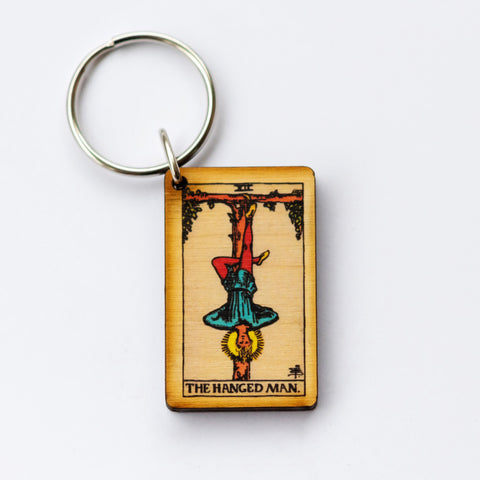 The Hanged Man Card Keychain, A wooden laser cut Tarot Deck Keyring with Free Shipping