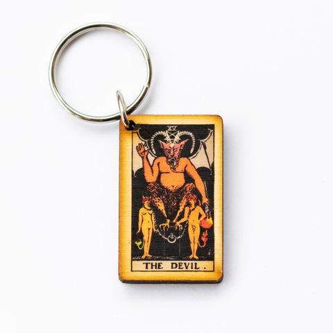 The Devil Card Keychain, A wooden laser cut Tarot Deck Keyring with Free Shipping