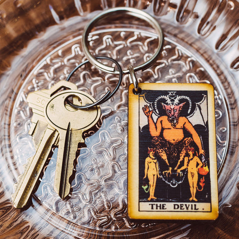 The Devil Tarot Card Keychain