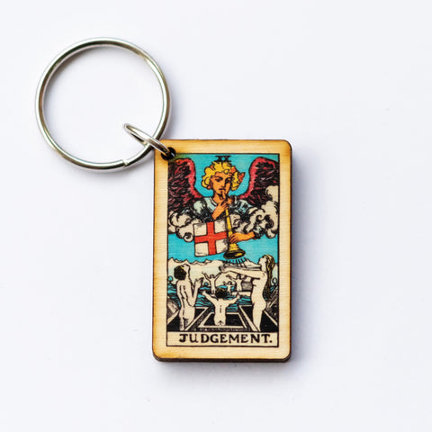The Judgement Card Keychain, A wooden laser cut Tarot Deck Keyring with Free Shipping
