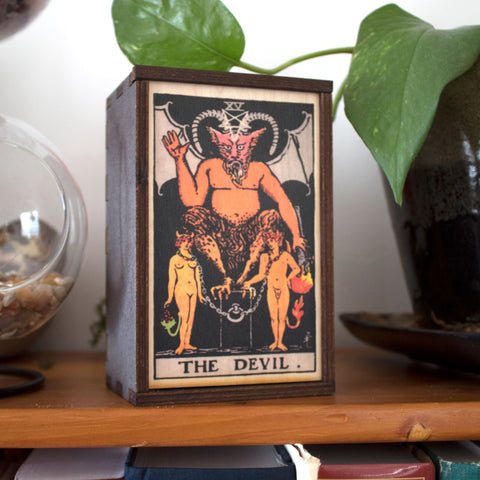 The Devil Tarot Card Card Wooden Stash Box Tarot Card Box