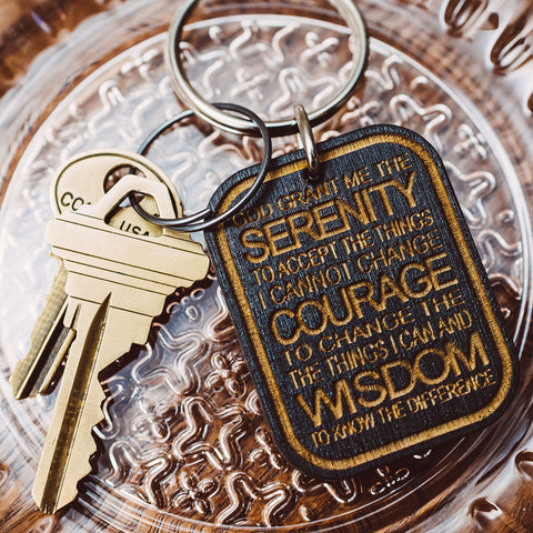 Serenity Prayer Wood Keychain