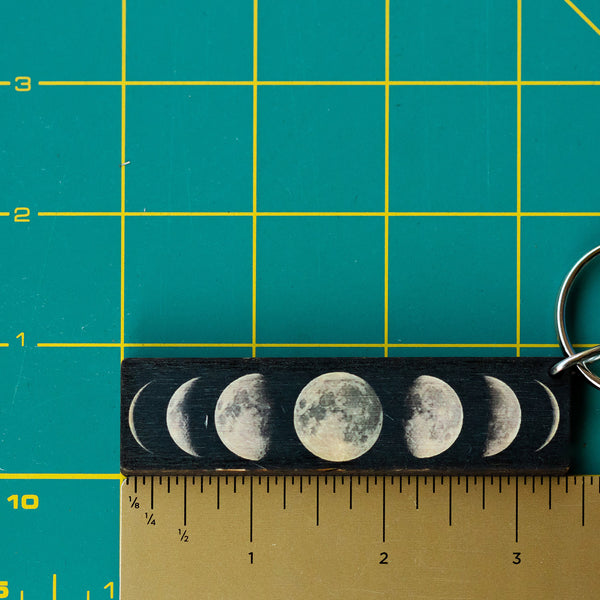 Moon Phases Wooden Keychain