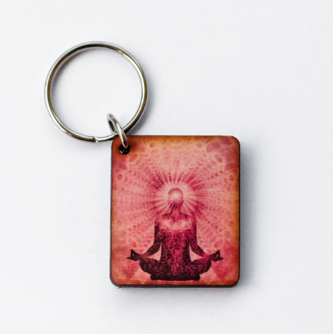 Meditation Wooden Keychain