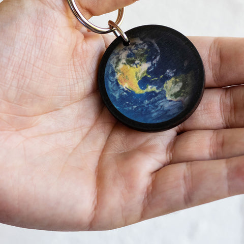 Earth Wooden Keychain