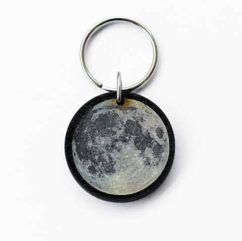 Full Moon Wood Keychain