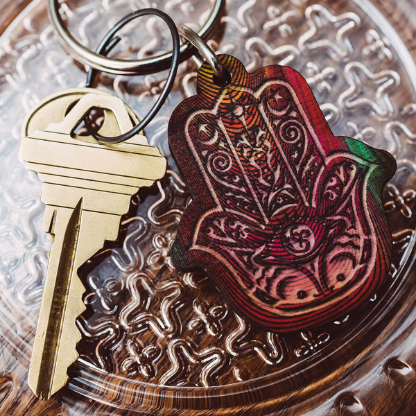 Hamsa Full Color Wood Keychain