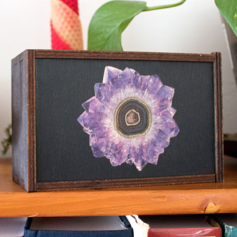 Amethyst Flower Laser Cut Wooden Stash Box Tarot Deck Card Storage