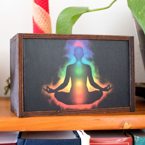 Chakra Sequence Laser Cut Wooden Stash Box Tarot Deck Card Storage