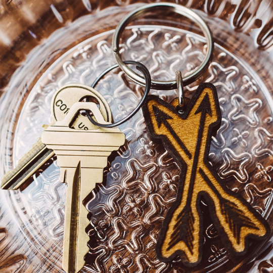 Crossed Arrows Wooden Keychain