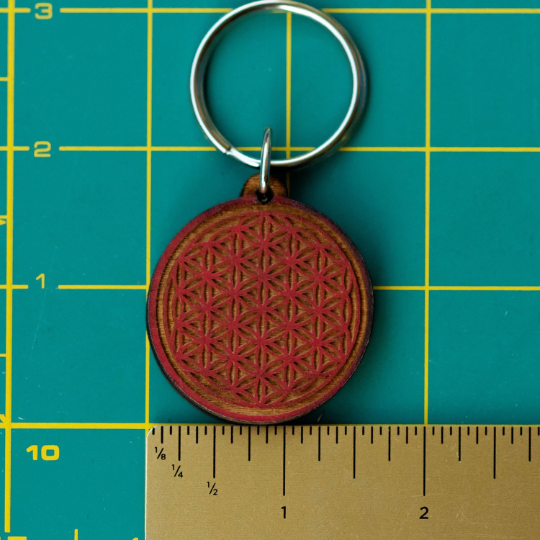 Flower of Life Wooden Keychain
