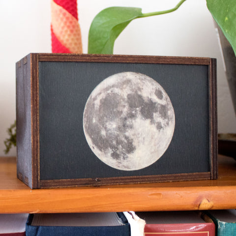 Full Moon Laser Cut Wooden Stash Box Tarot Deck Card Storage