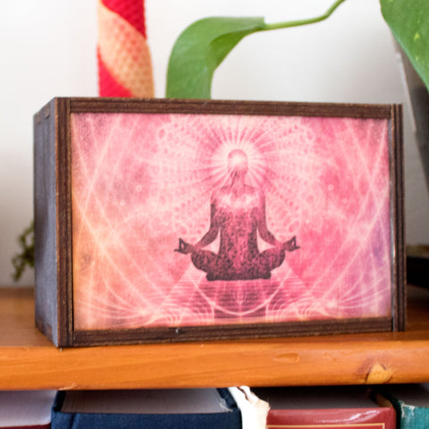Meditation Laser Cut Wooden Stash Box Tarot Deck Card Storage