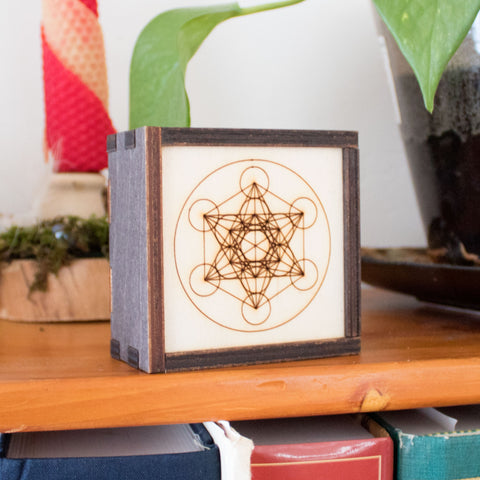 Metatron's Cube Laser Cut Wooden Stash Box Tarot Deck Card Storage