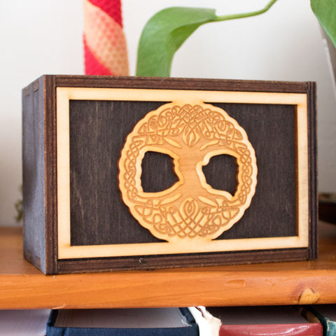 Tree of Life Laser Cut Wooden Stash Box Tarot Deck Card Storage