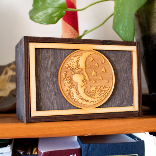 Woodcut Moon Laser Cut Wooden Stash Box Tarot Deck Card Storage