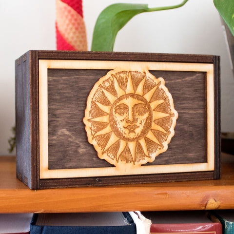 Woodcut Sun Laser Cut Wooden Stash Box Tarot Deck Card Storage
