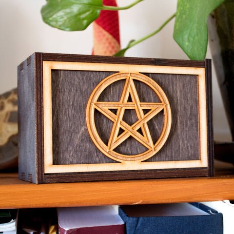 Pentagram Laser Cut Wooden Stash Box Tarot Deck Card Storage