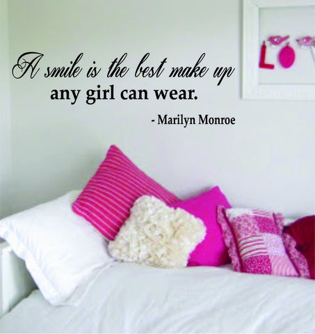 A Smile Is the Best Make up Marilyn Monroe Quote Decal Sticker Decor Wall Vinyl Art Girl Lady Woman