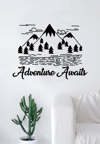 Adventure Awaits V9 Quote Decal Sticker Wall Vinyl Art Home Room Decor Travel Inspirational Wanderlust Mountains Trees