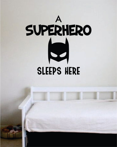 A Superhero Sleeps Here Wall Decal Sticker Vinyl Art Bedroom Living Room Decor Decoration Teen Quote Inspirational Baby Nursery Hero Superhero Mask Cute
