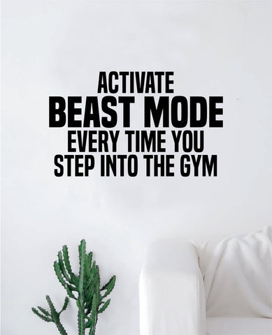 Activate Beast Mode Decal Sticker Wall Vinyl Art Wall Bedroom Room Decor Motivational Inspirational Teen Sports Gym Fitness