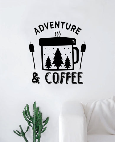 Adventure and Coffee Decal Sticker Wall Vinyl Art Wall Bedroom Room Home Decor Inspirational Teen Nursery Travel