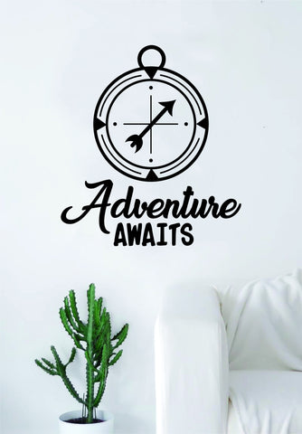 Adventure Awaits Compass Quote Wall Decal Sticker Bedroom Living Room Art Vinyl Beautiful Inspirational Travel Wanderlust