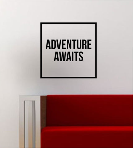 Adventure Awaits Simple Square Design Quote Travel Wanderlust Wall Decal Sticker Vinyl Art Home Decor Decoration - boop decals - vinyl decal - vinyl sticker - decals - stickers - wall decal - vinyl stickers - vinyl decals