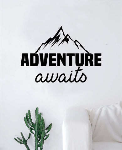 Adventure Awaits V13 Quote Wall Decal Sticker Home Decor Vinyl Art Bedroom Teen Inspirational Kids Travel Mountains
