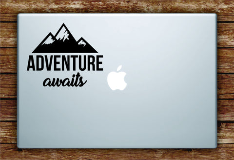 Adventure Awaits v2 Laptop Apple Macbook Quote Wall Decal Sticker Art Vinyl Explore Travel Wanderlust Mountains Trees Hike Cute