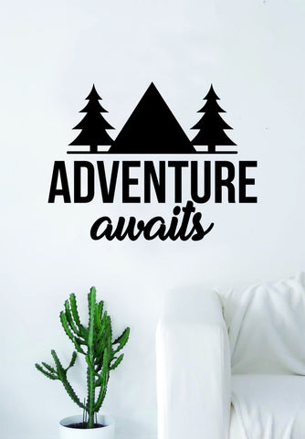 Adventure Awaits v7 Quote Wall Decal Sticker Bedroom Living Room Art Vinyl Beautiful Inspirational Travel Mountains Trees Wanderlust