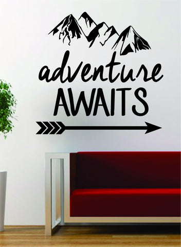 Adventure Awaits Version 2 Mountains Arrow Design Decal Sticker Wall Vinyl Art Decor Travel - boop decals - vinyl decal - vinyl sticker - decals - stickers - wall decal - vinyl stickers - vinyl decals