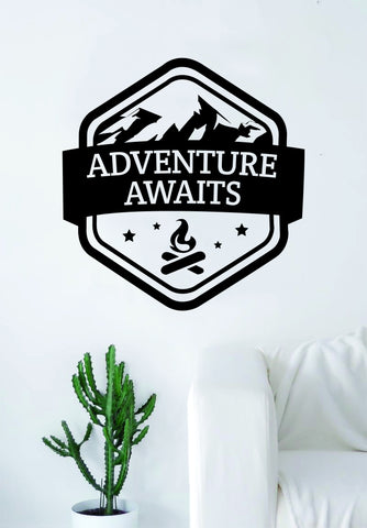 Adventure Awaits v5 Quote Wall Decal Sticker Bedroom Living Room Art Vinyl Beautiful Inspirational Travel Mountains Wanderlust