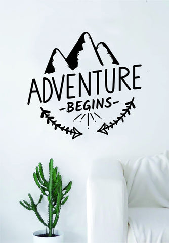 Adventure Begins Mountains Quote Wall Decal Sticker Bedroom Living Room Art Vinyl Beautiful Inspirational Travel Wanderlust