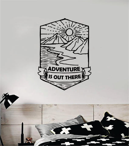 Adventure Is Out There Wall Decal Sticker Vinyl Art Bedroom Room Home Decor Inspirational Motivational School Teen Baby Nursery Travel Wanderlust Mountains