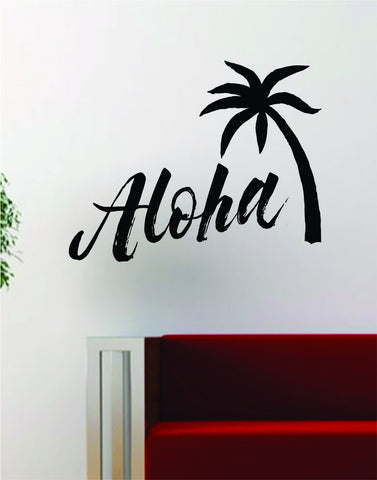 Aloha Palm Tree Quote Wall Decal Decor Art Vinyl Room Nautical Beach Ocean Surf Hawaii - boop decals - vinyl decal - vinyl sticker - decals - stickers - wall decal - vinyl stickers - vinyl decals