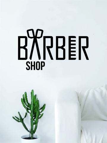 Barber Shop Logo Wall Decal Sticker Vinyl Art Living Room Bedroom Hair Comb Scissors Salon