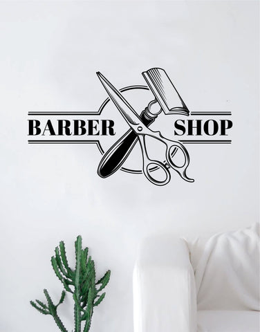 Barbershop Logo V2 Wall Decal Home Decor Art Sticker Vinyl Bedroom Room Quote Barber Haircut Shop Scissors Comb